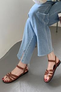 足が楽なクッション感抜群 女性メリージェインねじりフラットサンダル Ruban